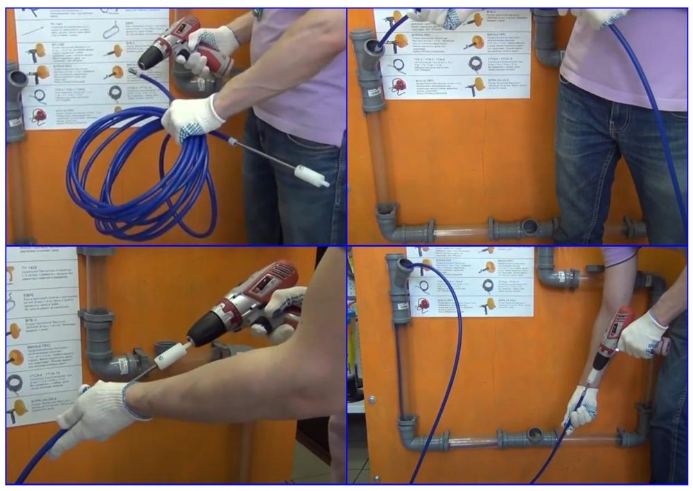 Операции по прочистке канализации специальным тросом в оплетке.