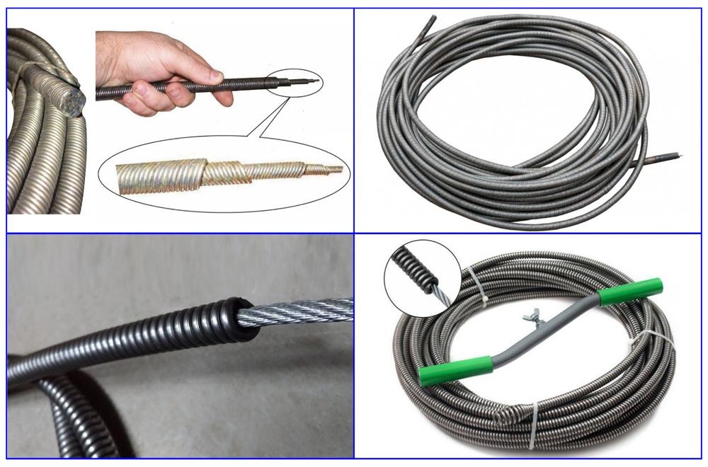 Пружинно-навитые тросы для прочистки канализационных труб.