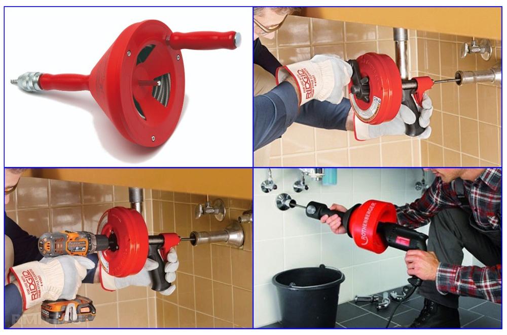 Примеры работы с барабанным инструментом для очистки трубопроводов.