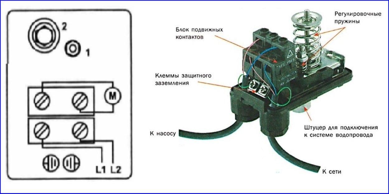 Электрическая схема подключения реле РДМ-5
